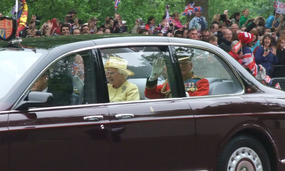 The queen heading to Westminster Abbey for the Royal Wedding